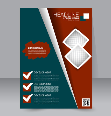 handout: Abstract flyer design background. Brochure template. To be used for magazine cover, business mockup, education, presentation, report.  Green and red color.