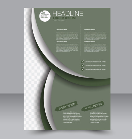 two page: Abstract flyer design background. Brochure template. To be used for magazine cover, business mockup, education, presentation, report. Green color. Illustration