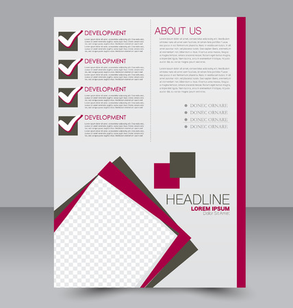 double page: Abstract flyer design background. Brochure template. To be used for magazine cover, business mockup, education, presentation, report. Brown and red color. Illustration
