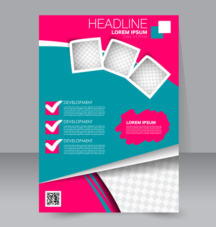 handout: Abstract flyer design background. Brochure template. To be used for magazine cover, business mockup, education, presentation, report.  Pink and blue color.