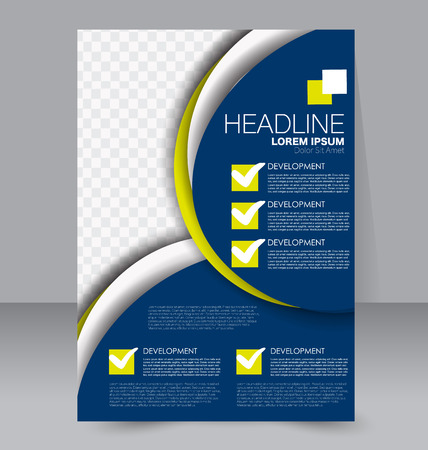 handout: Abstract flyer design background. Brochure template. To be used for magazine cover, business mockup, education, presentation, report.  Blue and yellow color. Illustration