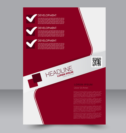 double page: Abstract flyer design background. Brochure template. To be used for magazine cover, business mockup, education, presentation, report.  Red color.