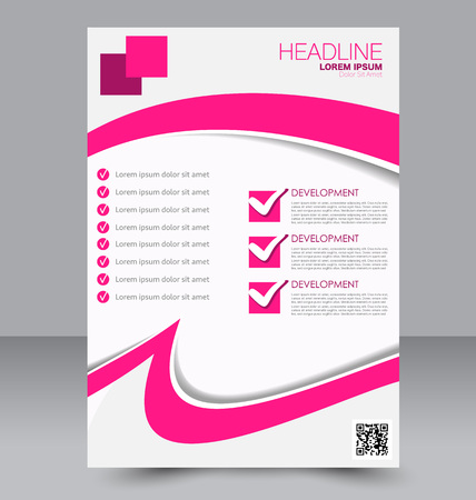 two page: Abstract flyer design background. Brochure template. To be used for magazine cover, business mockup, education, presentation, report.  Pink color. Illustration