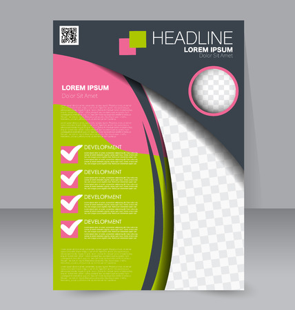 handout: Abstract flyer design background. Brochure template. To be used for magazine cover, business mockup, education, presentation, report.  Pink, grey and green color.