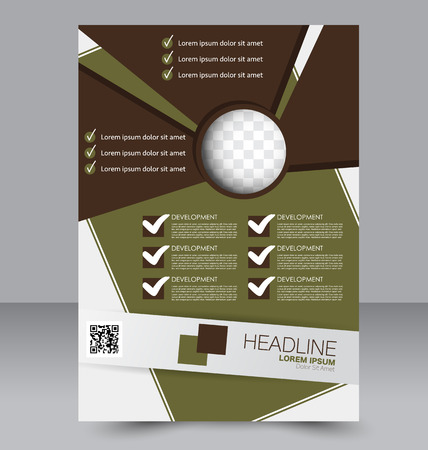 double page: Abstract flyer design background. Brochure template. To be used for magazine cover, business mockup, education, presentation, report.  Green and brown color. Illustration