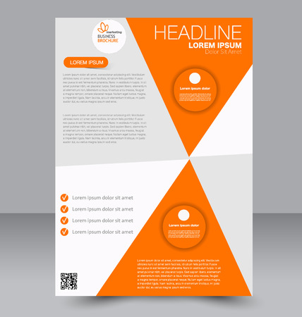 double page: Abstract flyer design background. Brochure template. To be used for magazine cover, business mockup, education, presentation, report. Orange color.