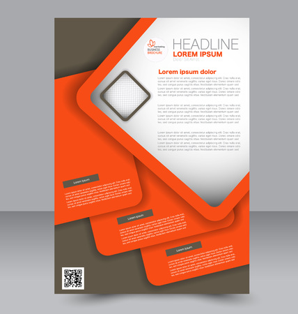 double page: Abstract flyer design background. Brochure template. To be used for magazine cover, business mockup, education, presentation, report. Brown and orange color. Illustration