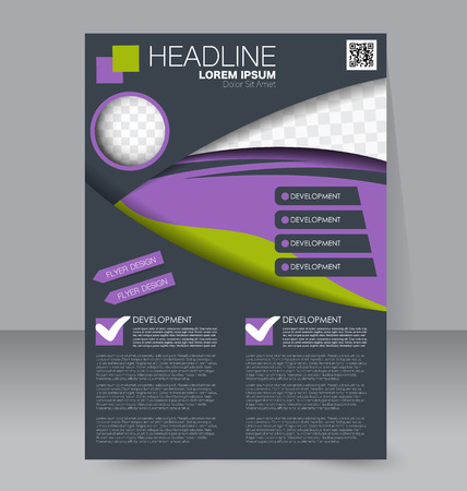 handout: Abstract flyer design background. Brochure template. To be used for magazine cover, business mockup, education, presentation, report.  Green, purple and grey color.