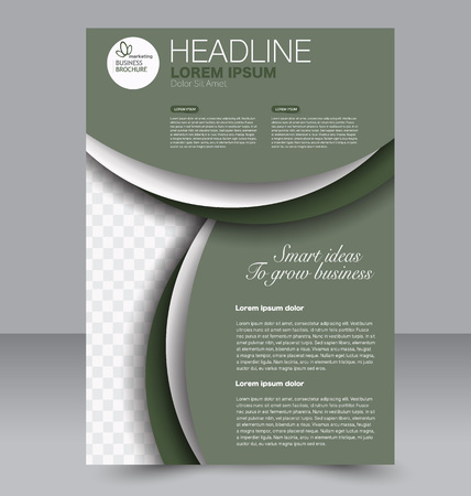 Abstract flyer design background. Brochure template. To be used for magazine cover, business mockup, education, presentation, report. Green color. Illustration