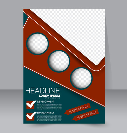 double page: Abstract flyer design background. Brochure template. To be used for magazine cover, business mockup, education, presentation, report.  Red and green color.