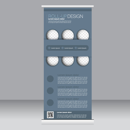 rollup: Roll up banner stand template. Abstract background for design,  business, education, advertisement.  Grey color. Vector  illustration.