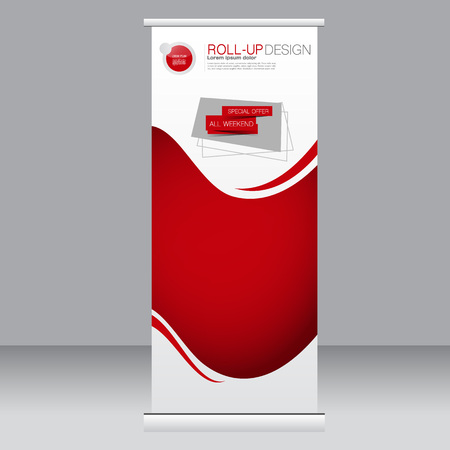 Roll up banner stand template. Abstract background for design,  business, education, advertisement. Red color. Vector  illustration.