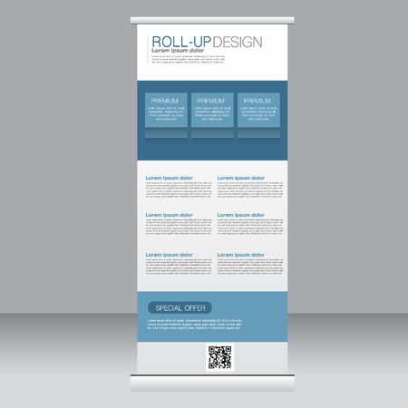 rollup: Roll up banner stand template. Abstract background for design,  business, education, advertisement. Blue color. Vector  illustration. Illustration