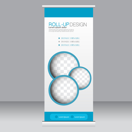 Roll up banner stand template. Abstract background for design,  business, education, advertisement. Blue color. Vector  illustration.  イラスト・ベクター素材