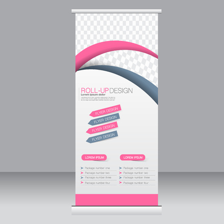 Roll up banner stand template. Abstract background for design,  business, education, advertisement. Pink and grey color. Vector  illustration. Illustration