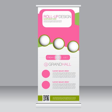rollup: Roll up banner stand template. Abstract background for design,  business, education, advertisement.  Green and pink color. Vector  illustration.