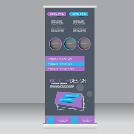 rollup: Roll up banner stand template. Abstract background for design,  business, education, advertisement. Blue and purple color. Vector  illustration.