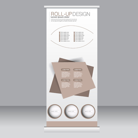 rollup: Roll up banner stand template. Abstract background for design,  business, education, advertisement.  Brown color. Vector  illustration.