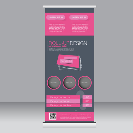 rollup: Roll up banner stand template. Abstract background for design,  business, education, advertisement.  Grey and pink color. Vector  illustration.
