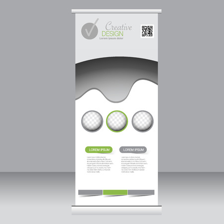 rollup: Roll up banner stand template. Abstract background for design,  business, education, advertisement.  Green color. Vector  illustration. Illustration