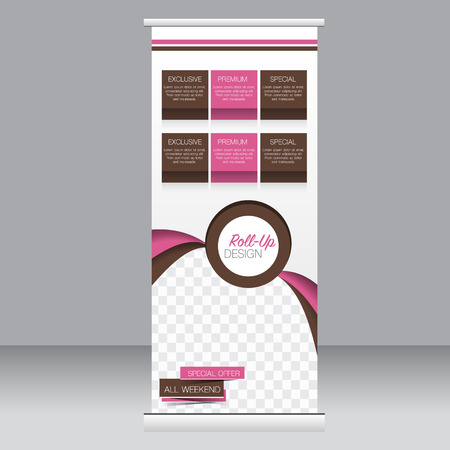 banner design: Roll up banner stand template. Abstract background for design,  business, education, advertisement. Pink and brown color. Vector  illustration.