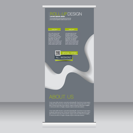 rollup: Roll up banner stand template. Abstract background for design,  business, education, advertisement.  Green and grey color. Vector  illustration.