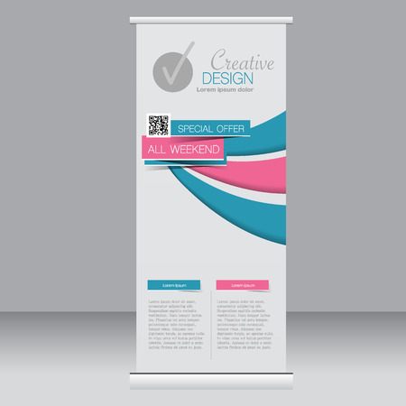 rollup: Roll up banner stand template. Abstract background for design,  business, education, advertisement. Blue and pink color. Vector  illustration.