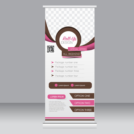Roll up banner stand template. Abstract background for design,  business, education, advertisement. Pink and brown color. Vector  illustration.