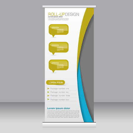Roll up banner stand template. Abstract background for design,  business, education, advertisement. Blue and yellow color. Vector  illustration.