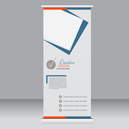 Roll up banner stand template. Abstract background for design,  business, education, advertisement.  Blue and orange color. Vector  illustration.