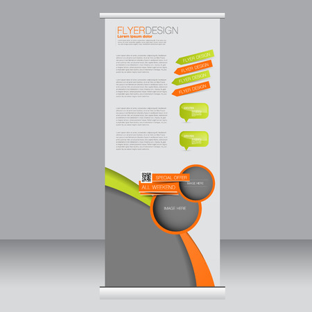 Roll up banner stand template. Abstract background for design,  business, education, advertisement. Green and orange color. Vector  illustration.