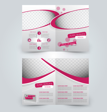 double page: Abstract flyer design background. Brochure template. Can be used for magazine cover, business mockup, education, presentation, report. Pink color.
