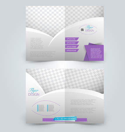 two page: Brochure template design. Two page mock up flyer. Blue and purple color vector illustration. Illustration