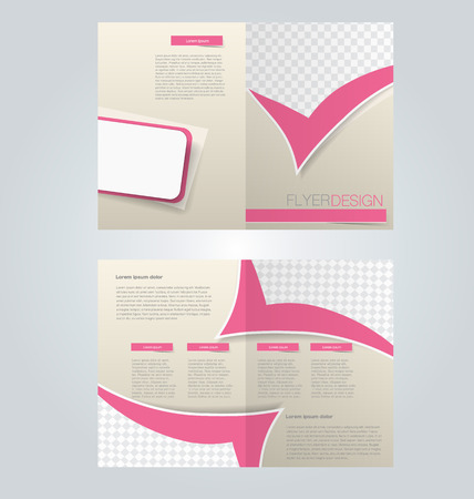 two page: Brochure template design. Two page mock up flyer. Pink color vector illustration.