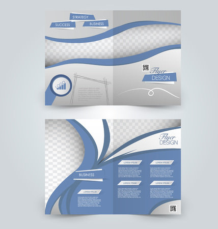 two page: Abstract flyer design background. Brochure template. Can be used for magazine cover, business mockup, education, presentation, report. Blue color. Illustration
