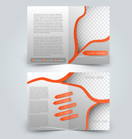 two page: Brochure template design. Two page mock up flyer. Orange color vector illustration.