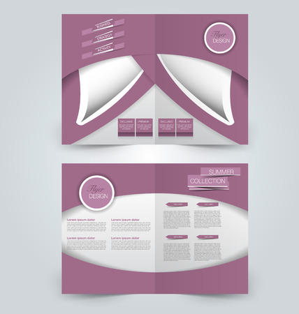 two page: Abstract flyer design background. Brochure template. Can be used for magazine cover, business mockup, education, presentation, report. Pink color.