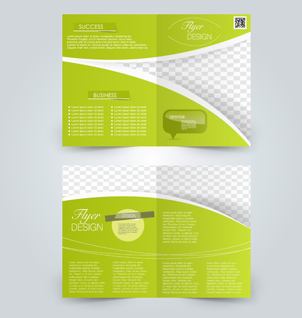 double page: Abstract flyer design background. Brochure template. Can be used for magazine cover, business mockup, education, presentation, report. Green color. Illustration