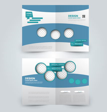 page layout: Abstract flyer design background. Brochure template. Can be used for magazine cover, business mockup, education, presentation, report. Blue color. Illustration