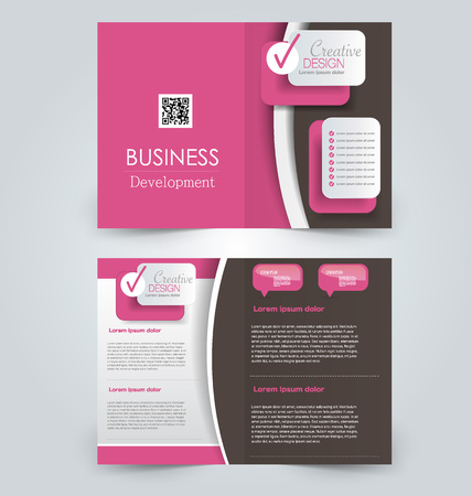 two page: Abstract flyer design background. Brochure template. Can be used for magazine cover, business mockup, education, presentation, report. Red and brown color. Illustration