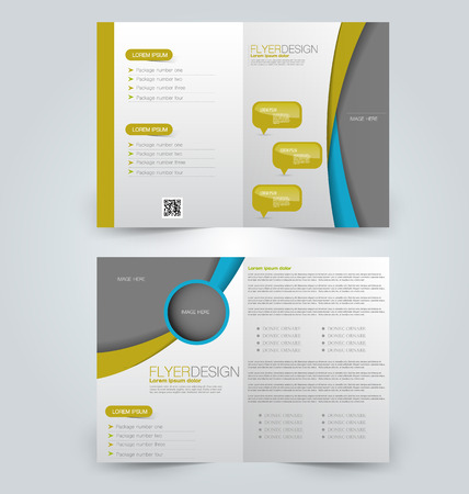 double page: Abstract flyer design background. Brochure template. Can be used for magazine cover, business mockup, education, presentation, report. Yellow and blue color.