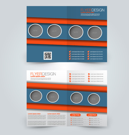 two page: Abstract flyer design background. Brochure template. Can be used for magazine cover, business mockup, education, presentation, report. Blue and orange color.