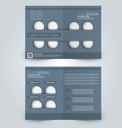 double page: Abstract flyer design background. Brochure template. Can be used for magazine cover, business mockup, education, presentation, report. Grey color.