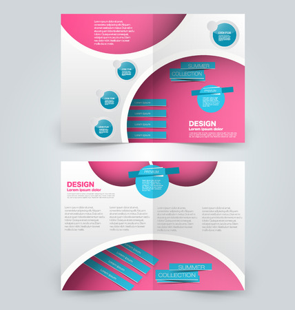 two page: Abstract flyer design background. Brochure template. Can be used for magazine cover, business mockup, education, presentation, report. Blue and pink color.
