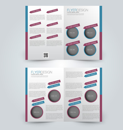 double page: Abstract flyer design background. Brochure template. Can be used for magazine cover, business mockup, education, presentation, report. Blue and purple color. Illustration