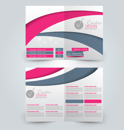double page: Abstract flyer design background. Brochure template. Can be used for magazine cover, business mockup, education, presentation, report. Pink and gey color. Illustration