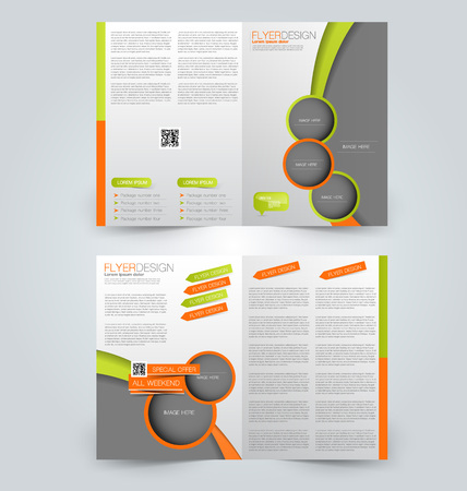 double page: Abstract flyer design background. Brochure template. Can be used for magazine cover, business mockup, education, presentation, report. Green and orange color.