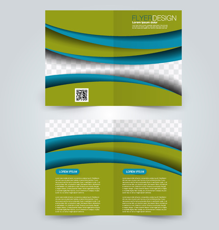 two page: Abstract flyer design background. Brochure template. Can be used for magazine cover, business mockup, education, presentation, report. Blue and green color.