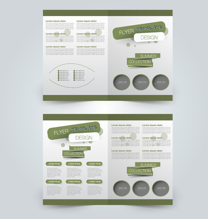 two page: Abstract flyer design background. Brochure template. Can be used for magazine cover, business mockup, education, presentation, report. Green color. Illustration