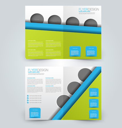 double page: Abstract flyer design background. Brochure template. Can be used for magazine cover, business mockup, education, presentation, report. Green and blue color.